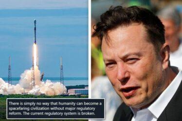 """Elon Musk furieux alors qu'un avion voyou nettoie le lancement de SpaceX à la dernière seconde """"Le système est cassé"""""""