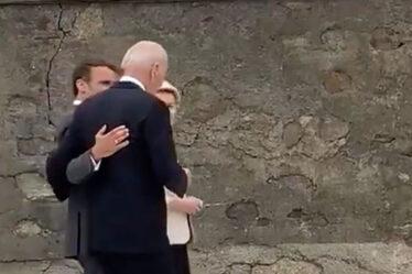Moment où Macron se jette sur Biden pour un murmure de violation de Covid quelques secondes après la photo du G7