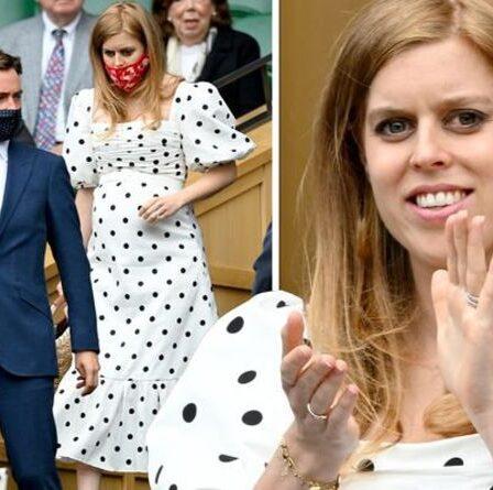 `` À couper le souffle '': la princesse Beatrice enceinte en robe Self Portrait à 340 £ à Wimbledon