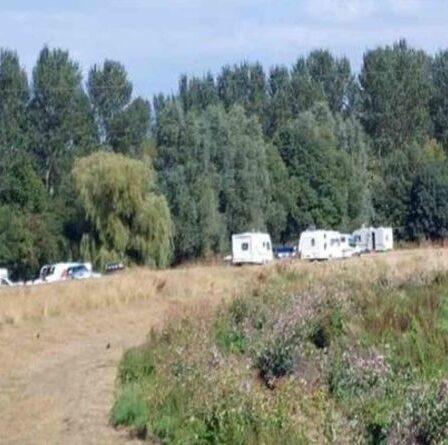 Les voyageurs descendent sur un site de beauté dans le Devon avec des caravanes et des 4x4