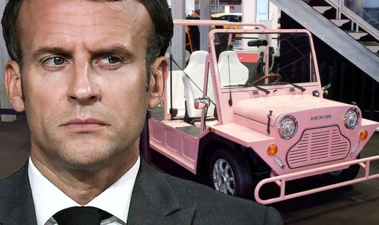Plus de misère Macron alors que Mini Moke se dirige vers le Royaume-Uni dans un camouflet français «Coming home!»